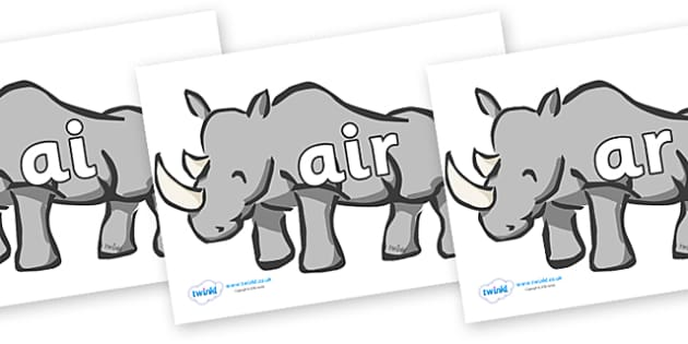 Phase 3 Phonemes on Rhinos - Phonemes, phoneme, Phase 3, Phase three, Foundation, Literacy, Letters and Sounds, DfES, display