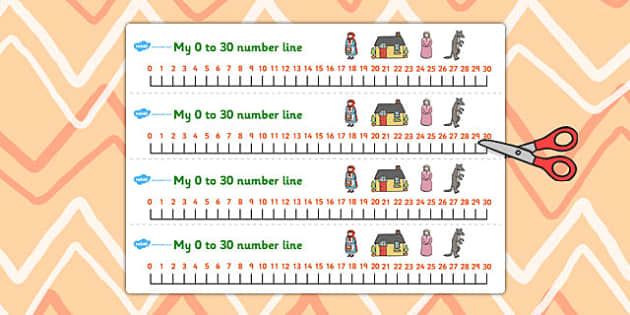 Little Red Riding Hood Number Lines 0-30 - red riding hood, line
