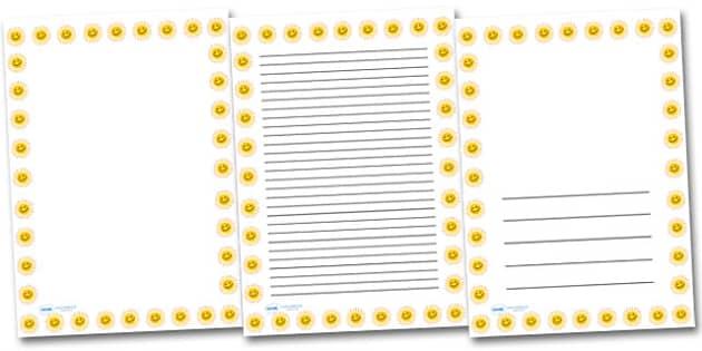 Smiley Sun Portrait Page Borders- Portrait Page Borders - Page border, border, writing template, writing aid, writing frame, a4 border, template, templates, landscape