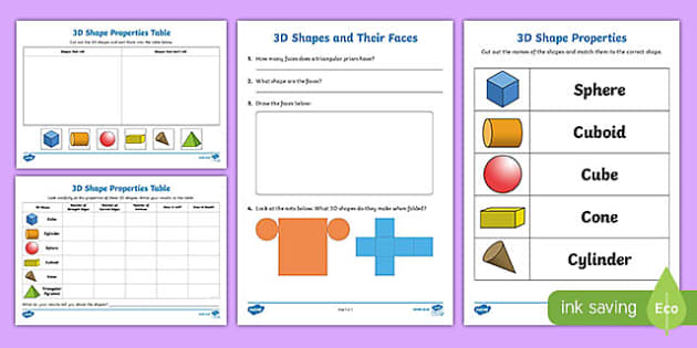Properties Of 3D Shapes Activity Sheets 3d shapes activity – 3d Shape Worksheets
