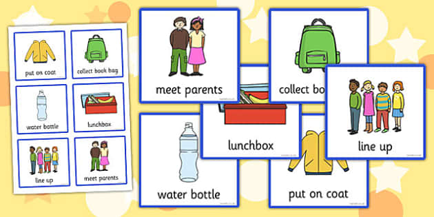 Daily Routine Cards (Going Home) - going home, home, Visual Timetable, SEN, Daily Timetable, School Day, Daily Activities, Daily Routine KS1, bag, parents, line up