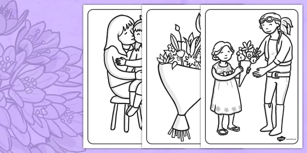 Australia Mother's Day Colouring Sheets