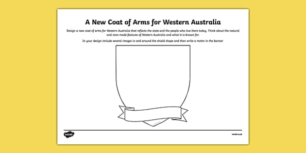 Western Australia Coat of Arms Design Sheet - australia, Western Australia, WA, emblem, coat of arms, design, drawing, art