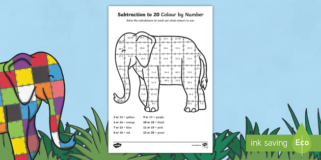 Subtraction From 20 Colour By Numbers Sheet to Support Teaching on Elmer - take away