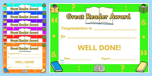 Great Reader Award Certificates - great reader award certificates, great reader, reader, reading, certificates, award, well done, reward, medal, rewards, school, general, certificate, achievement