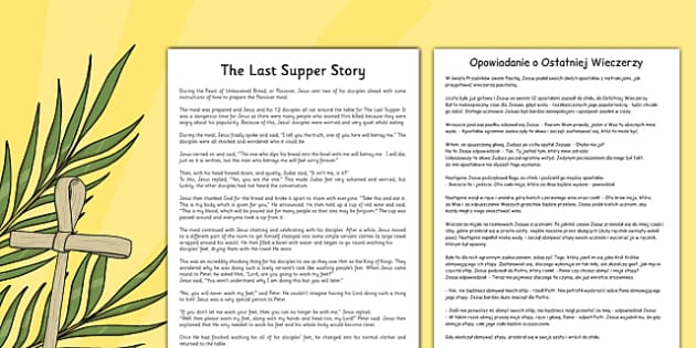 The Last Supper Story Sheet Polish Translation - polish, christianity, christian, religion
