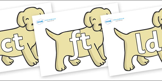 Final Letter Blends on Puppies - Final Letters, final letter, letter blend, letter blends, consonant, consonants, digraph, trigraph, literacy, alphabet, letters, foundation stage literacy