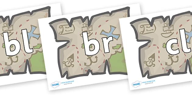 Initial Letter Blends on Treasure Maps - Initial Letters, initial letter, letter blend, letter blends, consonant, consonants, digraph, trigraph, literacy, alphabet, letters, foundation stage literacy