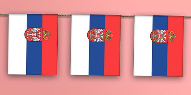 Serbia Flag Bunting - serbia flag, serbia, serbian flag, bunting, display bunting, display