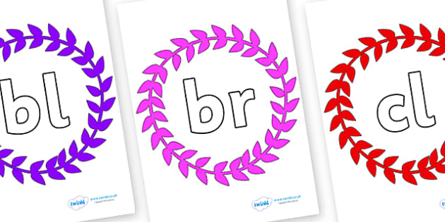 Initial Letter Blends on Wreaths - Initial Letters, initial letter, letter blend, letter blends, consonant, consonants, digraph, trigraph, literacy, alphabet, letters, foundation stage literacy