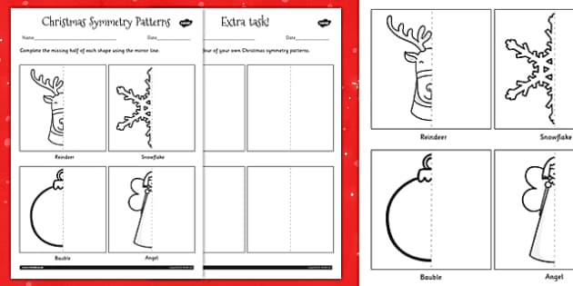 Symmetry Worksheet - christmas, symmetry, patterns