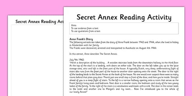 Anne Frank Secret Annex Reading Activity - anne frank, world war 2, nazi, germany, jewish
