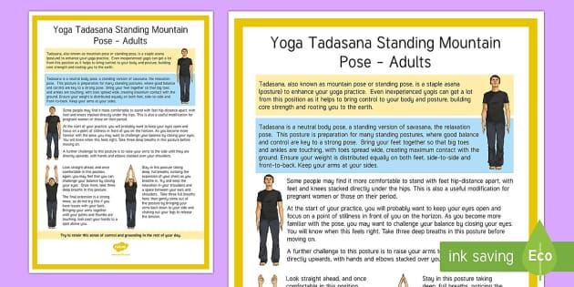 Tadasana Standing Mountain Pose – Adult Yoga Information Cards