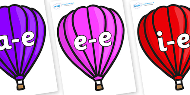 Modifying E Letters on Hot Air Balloons (Plain) - Modifying E, letters, modify, Phase 5, Phase five, alternative spellings for phonemes, DfES letters and Sounds
