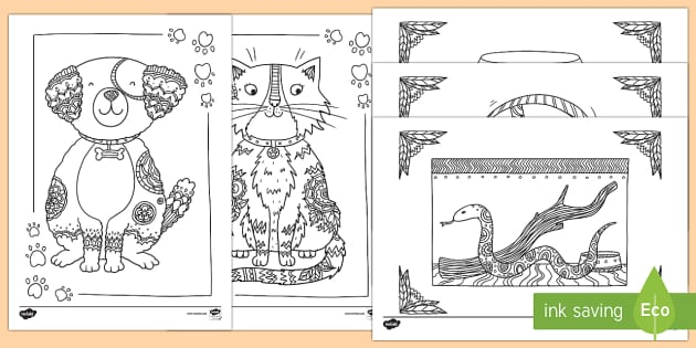 Pets Mindfulness Colouring Sheets - Mindfulness Colouring, pets, animals, dog, cat, fish, snake, hamster, cute, calming, wet play