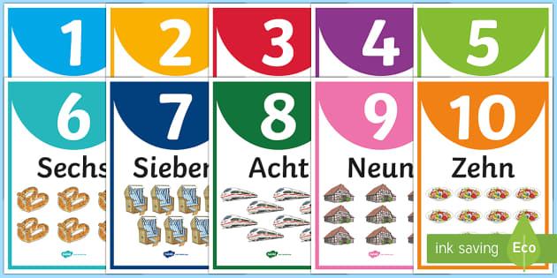 Numbers One to Ten Display Posters German - Numbers, German, Counting, 1-10, zehn, maths, numeracy, ks1, ks2, mfl, modern foreign language, Germ
