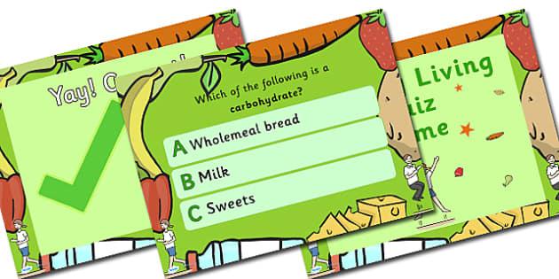 Healthy Living Multiple Choice Quiz Game - health, health quiz