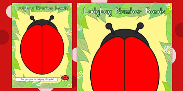 Number Bonds to Ten Ladybug Playdough Mat - playdough mat, mat