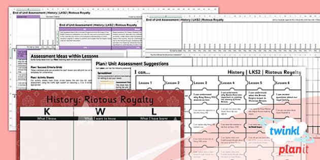 PlanIt - History LKS2 - Riotous Royalty Unit Assessment Pack - planit, history, lks2, riotous royalty, assessment pack