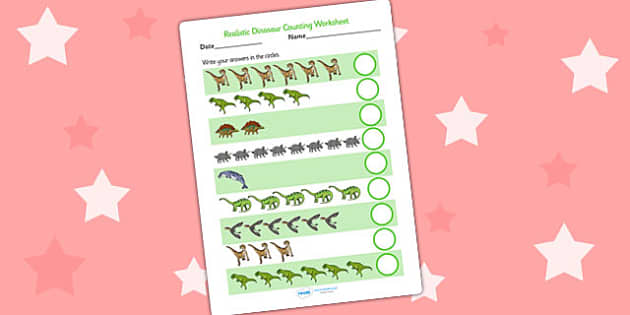 Realistic Dinosaurs Counting Worksheet - dinosaurs, counting