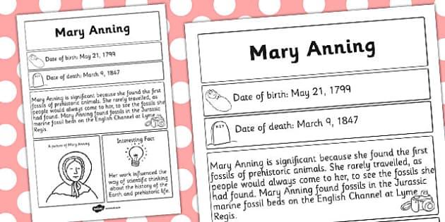 Mary Anning Significant Individual Fact Sheet - fact, sheet