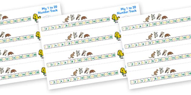 Australian Animal Number Track (1-20) - Maths, Math, number track, australian animals, numbertrack, Counting, Numberline, Number line, Counting on, Counting back