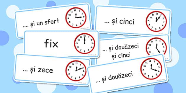Sa invatam sa citim ora, citim ceasul, cartonase, romana engleza, Romanian