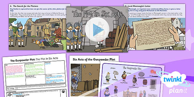 PlanIt - History KS1 - The Gunpowder Plot Lesson 5: The Plot in Six Acts Lesson Pack