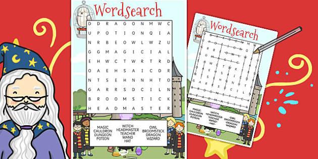 Wizard School Wordsearch - worksheet, worksheets, wizards, words
