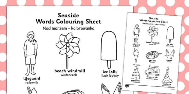 Seaside Themed Differentiated Word Colouring Worksheet Polish Translation - polish