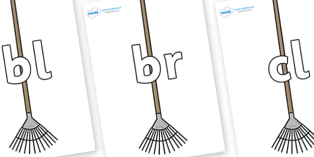 Initial Letter Blends on Garden Rakes - Initial Letters, initial letter, letter blend, letter blends, consonant, consonants, digraph, trigraph, literacy, alphabet, letters, foundation stage literacy