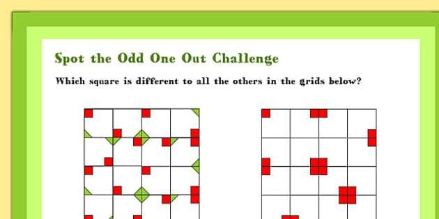 A4 Spot the Odd One Out Maths Challenge Poster - Spot, Odd, Maths