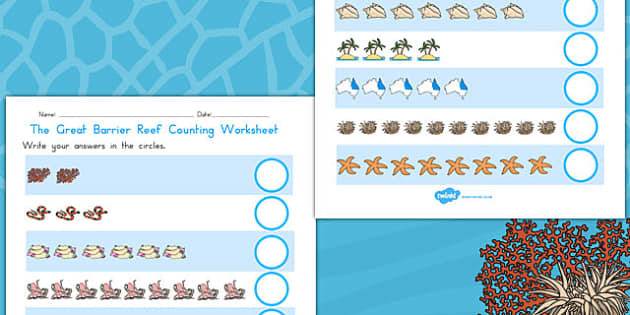 Great Barrier Reef Counting Worksheet - australia, counting