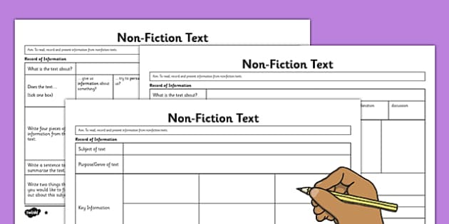 Non-Fiction Record of Information Differentiated Worksheets - non-fiction