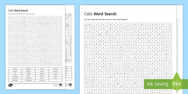 Cells Word Search - Biology Week, Cells, Mitochondria, Nucleus, Cell Membrane, Ribosome, Chloroplast