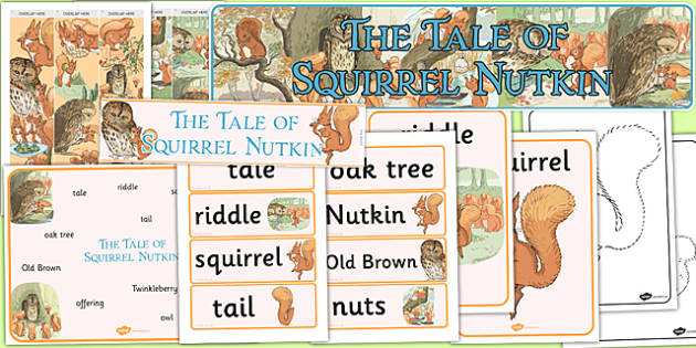 The Tale of Squirrel Nutkin Story Sack - Beatrix Potter, animals, stories, story pack