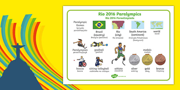 Rio Paralympics 2016 SEN Word Mat Polish Translation - polish, Paralympics, Rio 2016, Brazil, Word Mat, Key words, Key vocabulary, Literacy, English, Special Educational Needs, Language development, Disability Awareness