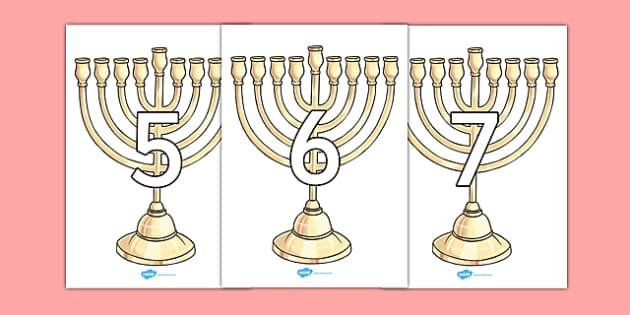 Numbers 0-10 on Menorahs - numbers, 0-10, menorah, judaism, hanukkah