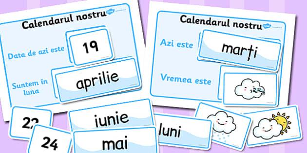 Calendarul clasei, al elevilor,  vremea, zilele saptamanii, data, Romanian