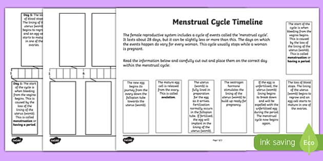 Sex and Relationships Education: Menstruation Timeline Activity Sheet Pack, worksheet