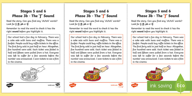 NI Linguistic Phonics Stage 5 and 6 Phase 3b,'f' Sound Activity Sheet - Linguistic Phonics, Phase 3b, Northern Ireland, 'f' sound, sound search, text, Worksheet