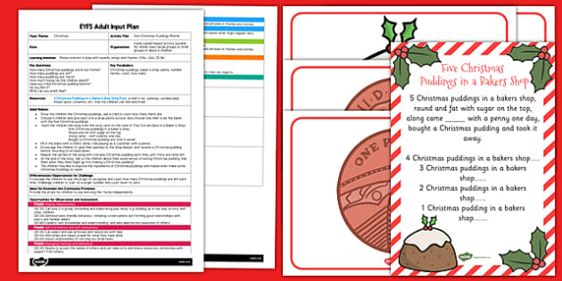 Five Christmas Puddings Rhyme EYFS Adult Input Plan and Resource Pack