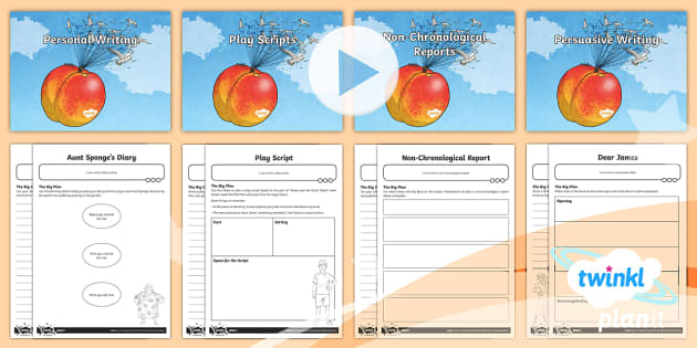 PlanIt Y4 Explorers: James and the Giant Peach WriteIt Pack - James and the Giant Peach, Roald Dahl, Play Scripts, Personal Writing, Diary Writing, Non-Chronologi