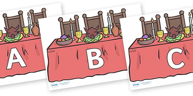 A-Z Alphabet on Dining Tables - A-Z, A4, display, Alphabet frieze, Display letters, Letter posters, A-Z letters, Alphabet flashcards