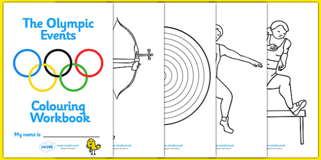The Olympics Events Colouring Workbook -  Olympics, Olympic Games, sports, Olympic, London, 2012, colouring, fine motor skills, poster, worksheet, vines, A4, display, workbook, activity, Olympic torch, medal, Olympic Rings, mascots, flame, compete, e