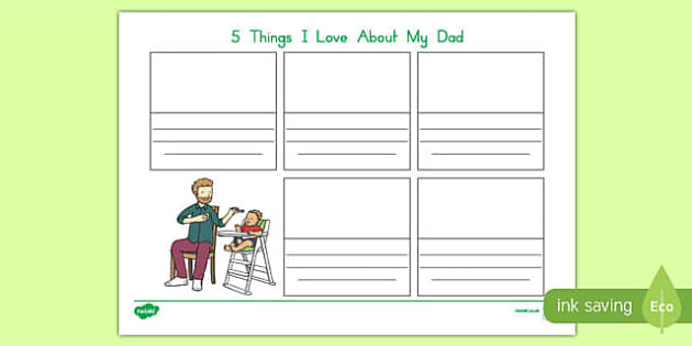 Australia Father's Day  5 Things I love about my Dad Activity Sheet-Australia, worksheet