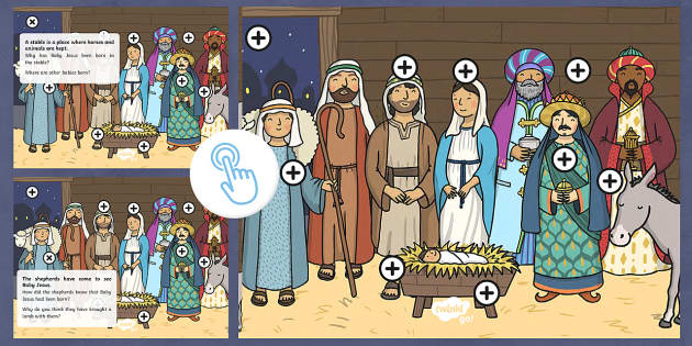 KS1 Nativity   Think and Discuss Picture Hotspots - Picture hotspots, nativity, Christmas, Jesus, Mary, Joseph, stable, wise men, shepherds, manger, bir