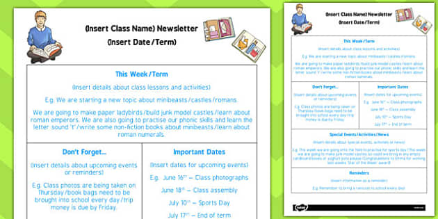 Editable Newsletter Template - ks2, editable, newsletter