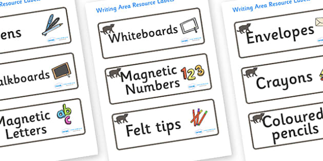 Panther Themed Editable Writing Area Resource Labels - Themed writing resource labels, literacy area labels, writing area resources, Label template, Resource Label, Name Labels, Editable Labels, Drawer Labels, KS1 Labels, Foundation Labels, Foundatio