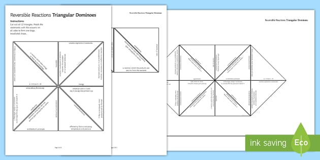 Reversible Reactions (HT) Tarsia Triangular Dominoes - Tarsia, gcse, chemistry, reversible reactions, reaction, equilibrium, rates of reaction, le chatelie